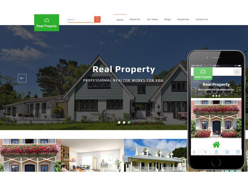Real property стильный шаблон для аренды виллы, дома, апартаментов